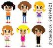 pixel girls - stock photo
