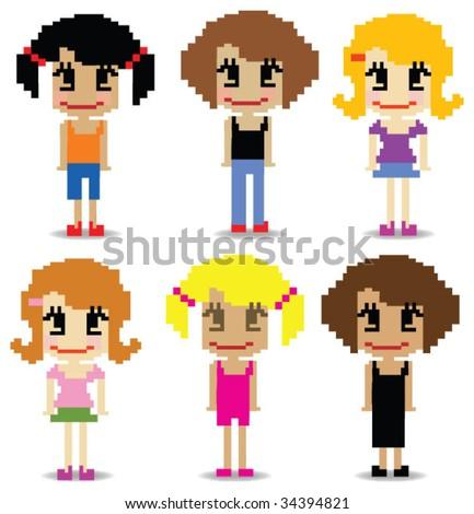 pixel girls - stock vector