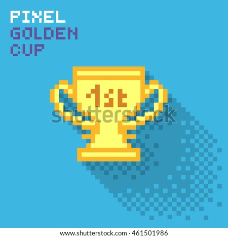 Pixel golden cup, flat pixelized illustration - stock image
