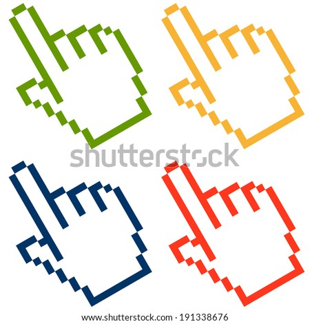 Pixel graphic hand - forefinger colorful - stock vector