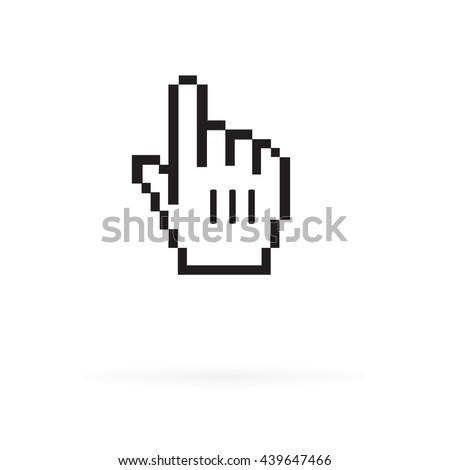 Pixel Hand Cursor Icon - stock vector