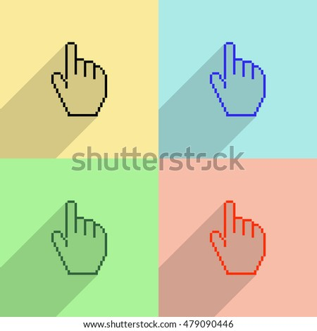 Pixel hand cursor vector icon - colored set with long  shadow