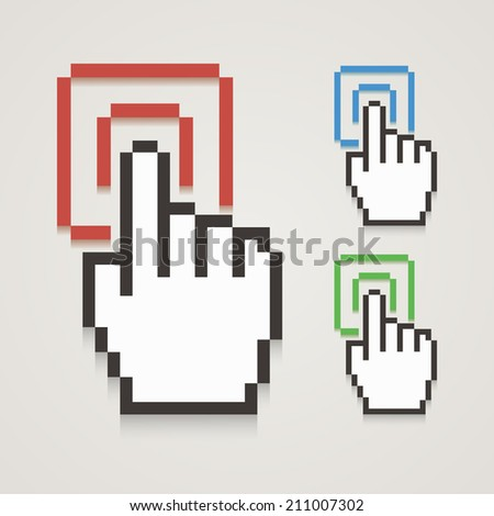 Pixel hand cursor with touching. Vector illustration. - stock vector