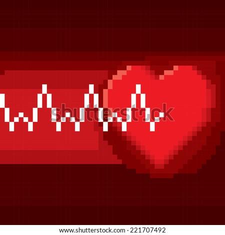 pixel heart pulse - stock vector