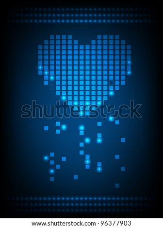 Pixel heart with glowing lights. Vector - stock vector