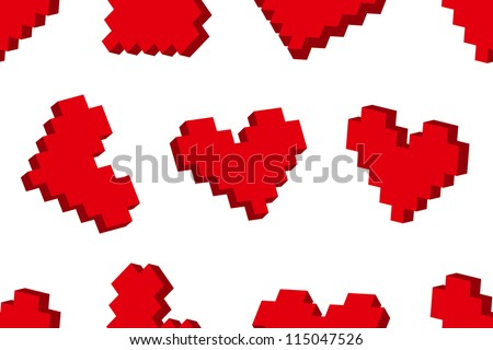 Pixel hearts seamless background pattern. Vector illustration. - stock vector