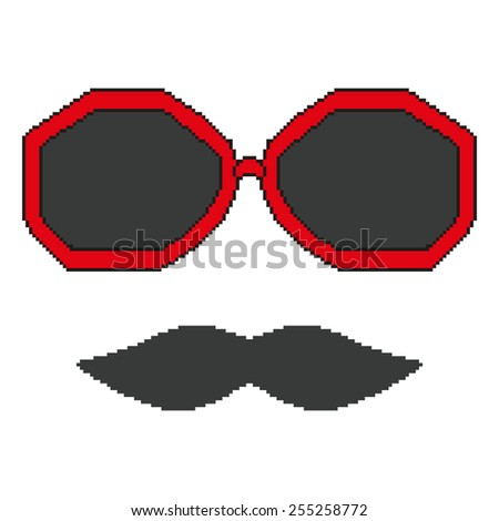 Pixel hipster glasses and mustache - stock vector
