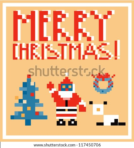 Pixel Holidays People card theme in pixel art style, vector illustration - stock vector