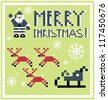 Pixel Holidays Santa's reindeer, sledge icons set theme in pixel art style, vector illustration - stock vector