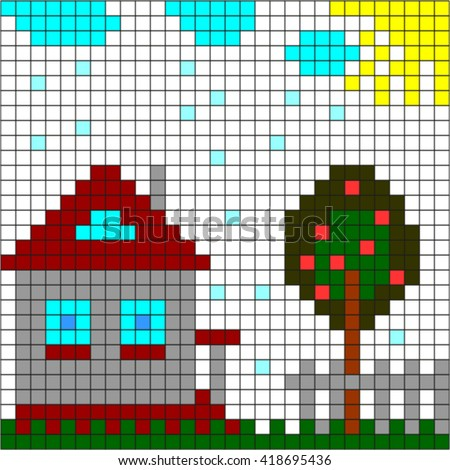 Pixel home. - stock vector