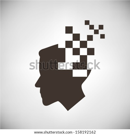 pixel man, digital man - stock vector
