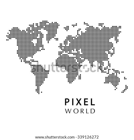 Pixel map, geography - stock vector