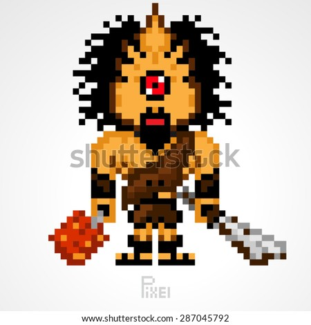 pixel monster character Cyclops giant with weapons vector