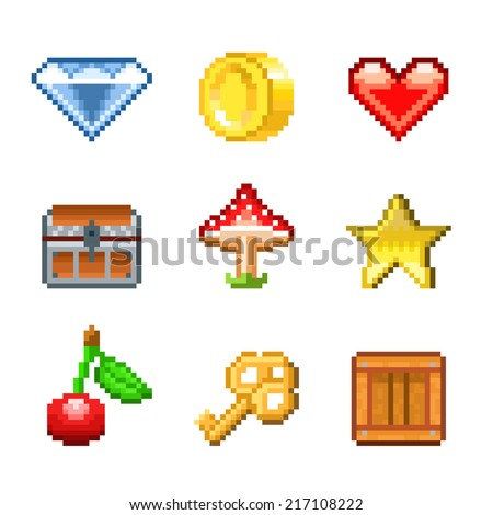 Pixel objects for games icons photo-realistic vector set - stock vector