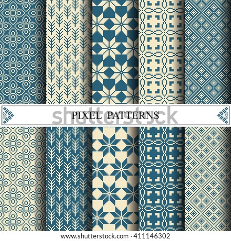 pixel pattern, textile, pattern fills, web page background, surface textures - stock vector