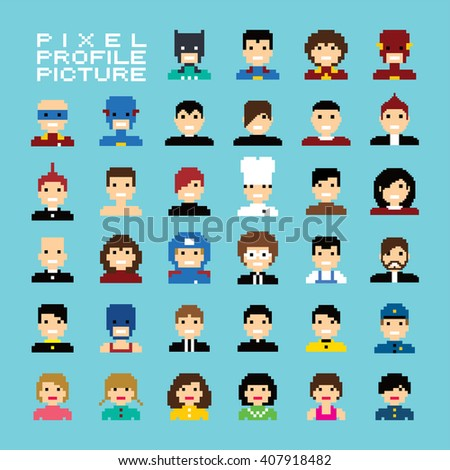 pixel people avatar set vector art illustration - stock vector