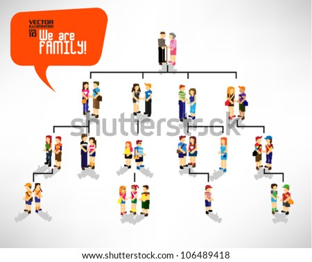 pixel people family tree with three generations vector icon design