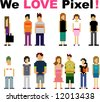 pixel peoples - stock vector