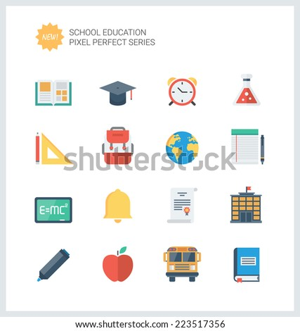 Pixel perfect flat icons set of elementary school objects and education items, learning symbol and student equipment. Flat design style modern pictogram collection. Isolated on white background.