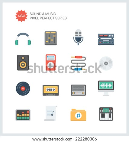 Pixel perfect flat icons set of sound symbols and studio equipment, music instruments,  audio and multimedia objects. Flat design style modern pictogram collection. Isolated on white background. - stock vector