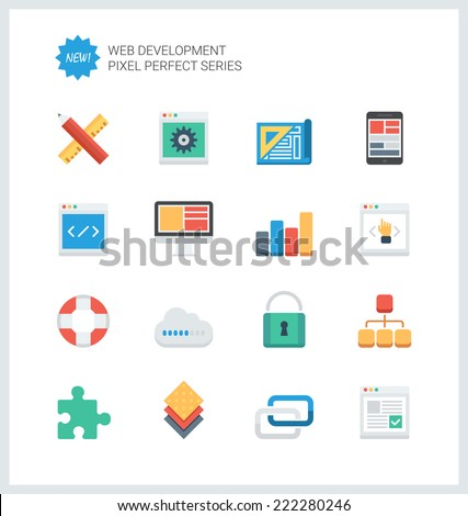 Pixel perfect flat icons set of web development and website programming process, webpage coding and user interface creating. Flat design style modern pictogram collection. Isolated on white background - stock vector