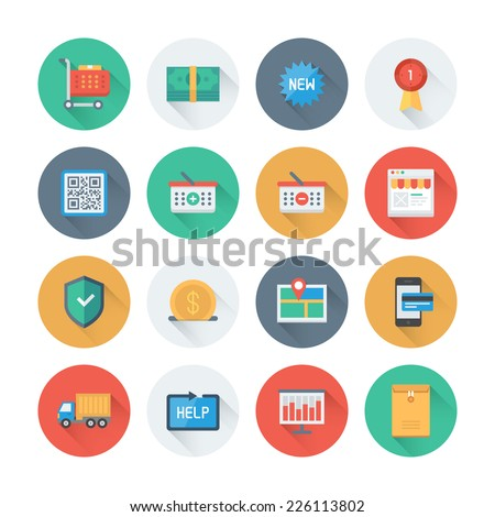 Pixel perfect flat icons set with long shadow effect of e-commerce shopping symbol, online shop elements and commerce item, internet store product. Flat design style modern pictogram collection.  - stock vector