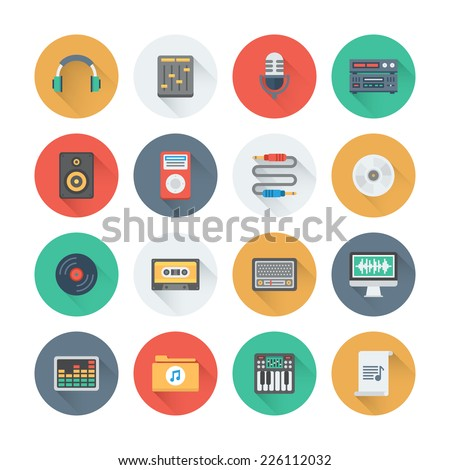 Pixel perfect flat icons set with long shadow effect of sound symbols and studio equipment, music instruments,  audio and multimedia objects. Flat design style modern pictogram collection.  - stock vector