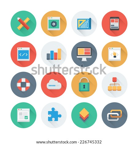 Pixel perfect flat icons set with long shadow effect of web development and website programming process, webpage coding and user interface creating. Flat design style modern pictogram collection.  - stock vector