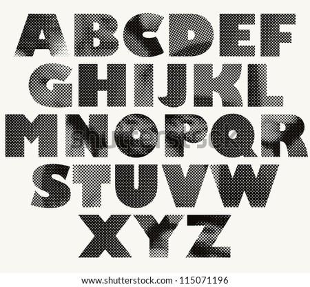 Pixel print font, monochrome vector symbols alphabet. - stock vector