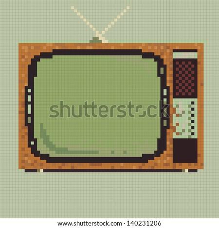 Pixel retro television vector. - stock vector