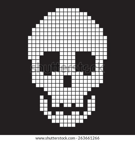 pixel scull  old computer simple icon style - stock vector