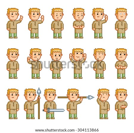 Pixel set of different emotions and actions hero - stock vector