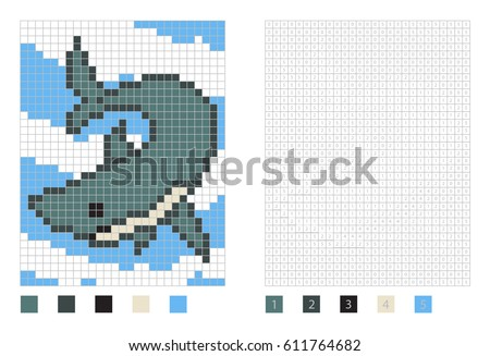 pixel shark cartoon in the coloring page with numbered squares vector illustration