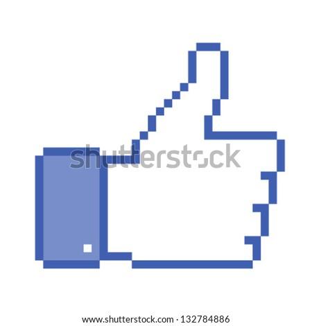 Pixel  thumb up, vector illustration - stock vector
