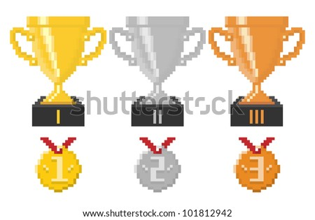 Pixel trophy cups and medals. Vector illustration. - stock vector