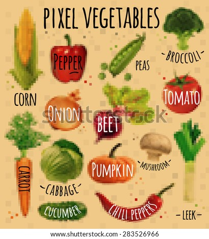 Pixel vegetables corn, pepper, peas, broccoli, onion, beet, mushrooms, tomato, pumpkin, cabbage, cucumber, carrot, chili pepper, leek drawing in pixel style on kraft - stock vector