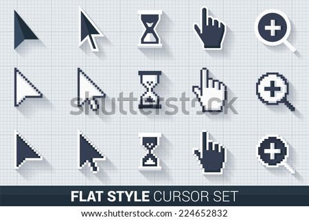 Pixelated and smooth vector cursors with long shadows, white and dark on grid background - stock vector