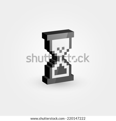 Pixelated hourglass. Loading 3d icon. Isolated on white background. Vector illustration, eps 10. - stock vector