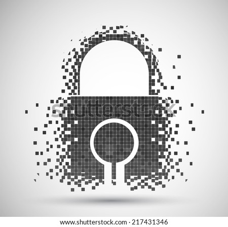 Pixelated Padlock icon, digital technology concept background - stock vector