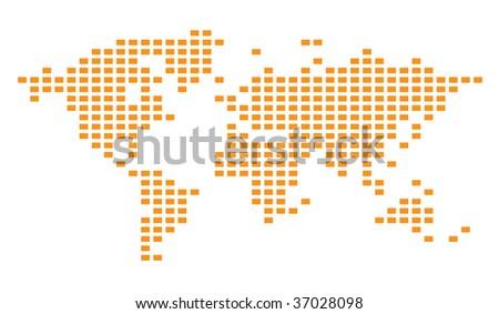 Pixelated Vector Grid Map - stock vector
