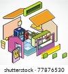 Pixels Art isometric vector of  buildings shop detail - stock vector