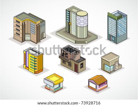 Pixels Art vector illustration of  isometric buildings - stock vector