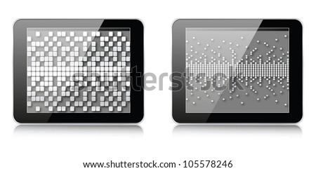 pixels illustration on tablet - stock vector