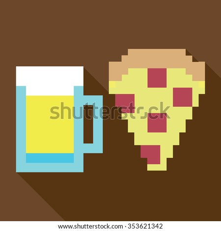 Pizza and glass of beer. Fastfood dynamic duo vector icon - stock vector