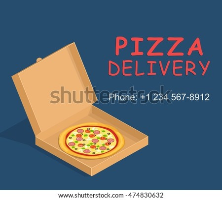Pizza box delivery service. Brown carton packaging box with pizza in flat style.