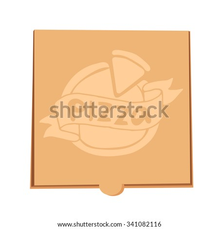 Pizza box vector illustration. Pizza box delivery service. Craft pizza box isolated on background. Box for pizza, pizza box. Pizza delivery business, food box, pizza box. Delivery pizza package icon - stock vector