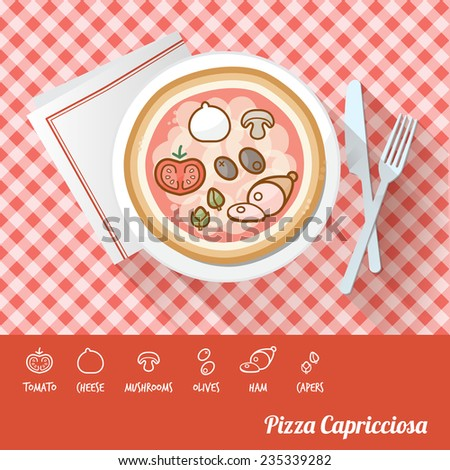 Pizza Capricciosa on a dish with icon ingredients and recipe name at bottom - stock vector