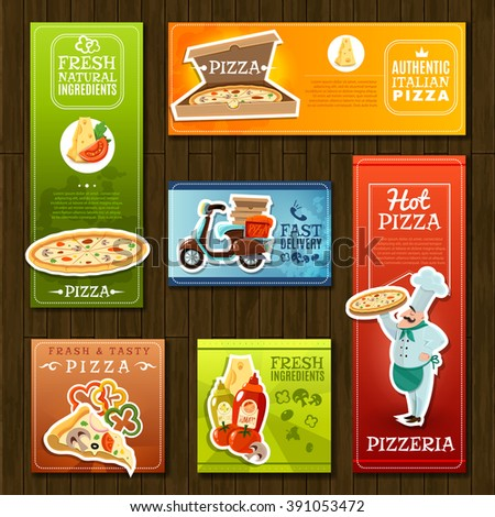 Pizza cartoon banners set with pizzeria symbols on wooden background isolated vector illustration  - stock vector