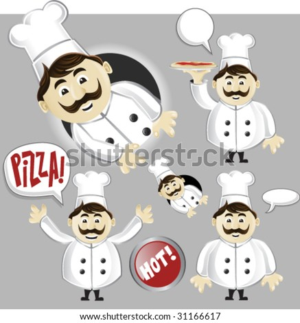 Pizza Chef Collection- Vector Illustration - stock vector