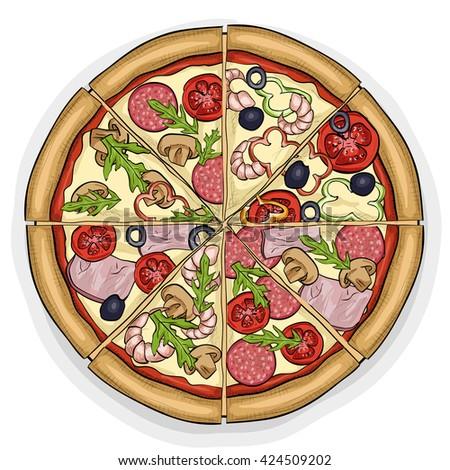 Pizza Color Picture Stock Vector 424509202
